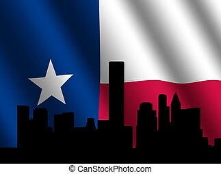 Houston skyline with Texan flag - Houston skyline with ...