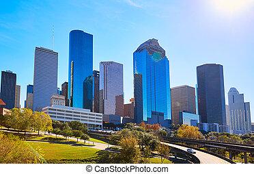 houston, stad, väst, oss, horisont, texas