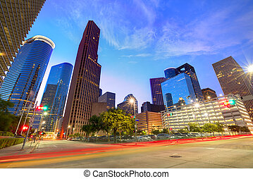 houston, stadtzentrum, skyline, an, sonnenuntergang, texas,...