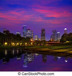 Houston sunset skyline from Texas US - Houston sunset ...