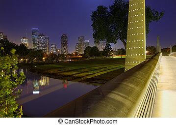 Houston sunset skyline from Texas US