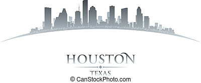 Houston Texas city skyline silhouette white background -...