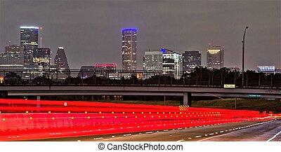 Houston Texas modern skyline at night