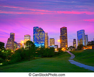 houston, texas, modernos, skyline, em, pôr do sol,...