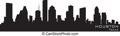 houston, texas, skyline., detalhado, vetorial, silueta