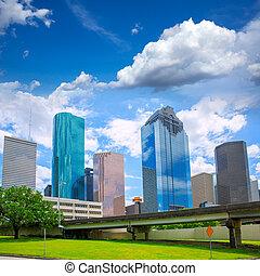 Houston Texas Skyline modern skyscrapers and blue sky