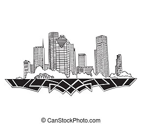 Houston, TX Skyline. Black and white vector illustration EPS 8.