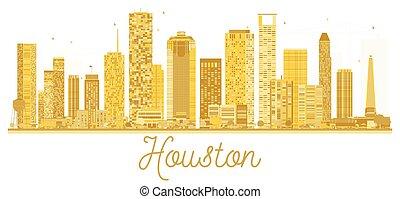 Houston USA City skyline golden silhouette.