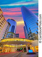 houston, v centru města, západ slunce, mrakodrapy, texas
