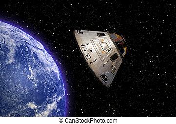 Houston We Have a Problem - Apollo 13 space capsule orbiting...