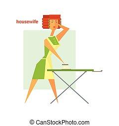 Houswife Ironing Abstract Figure