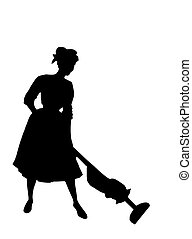Houswife of the 1950\\\'s - Silhouette clipping of hoovering...