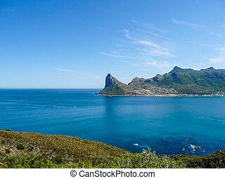 hout, áfrica, baía, chapman's, pico, sul, vista