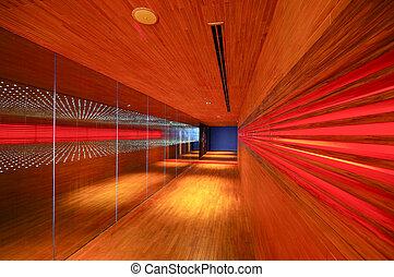 hout, abstract, walkway, verlichting, restaurant