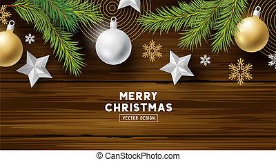 hout, achtergrond, decoraties, kerstmis