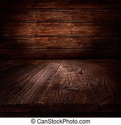 hout, achtergrond, -, tafel, met, houten muur