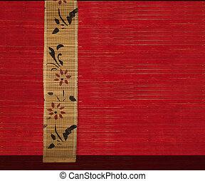 hout, bloem, geribd, 2, achtergrond, bamboe, spandoek, rood