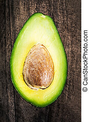 hout, cutted, macro, avocado, donkere achtergrond, helft