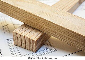 hout, dennenboom, bouwsector, achtergrond, tafel, grondslagen