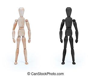 hout, figuur, paspop, -, zwart wit