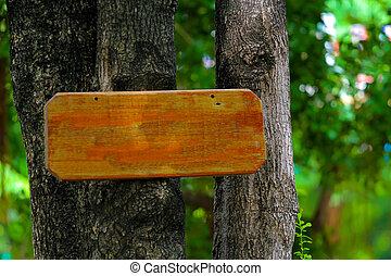 hout, gemaakt, boompje, plank, meldingsbord