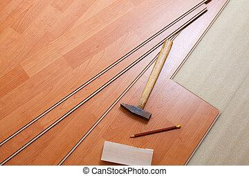 hout, gereedschap, bevloering