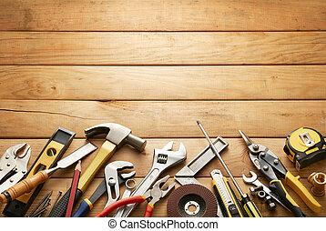 hout, gereedschap, grondslagen