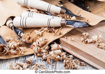 hout, gereedschap, snijwerk