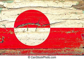 hout, greenland vlag, 3d