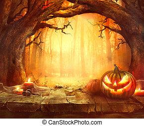 hout, halloween, achtergrond