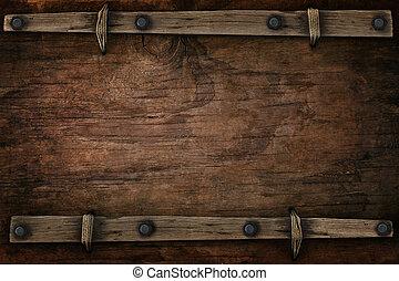 hout, met, kosteloos, ruimte, westelijk, stijl