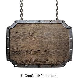 hout, middeleeuws, meldingsbord, hangend, kettingen, vrijstaand