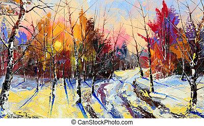 hout, ondergaande zon , winter