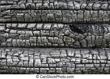 hout, oppervlakte, verkoolde