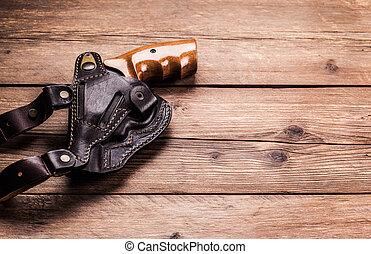 hout, pistool, achtergrond