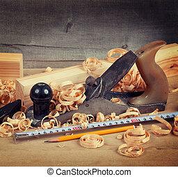 hout, planer, shavings