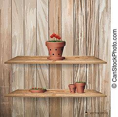 hout, plank, met, rode bloem, plant, in, klei, pot., vector,...
