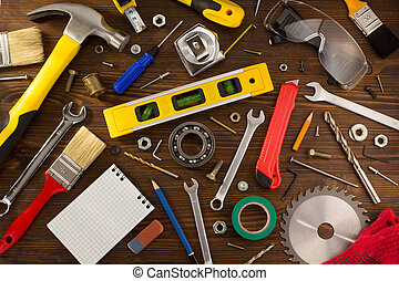 hout, set, gereedschap, instrumenten