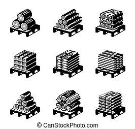 hout, set, materialen, pictogram