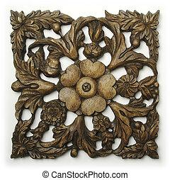 hout, sierlijk, snijwerk, ornament