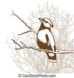 hout, silhouette, illustratie, achtergrond, vector, vogel