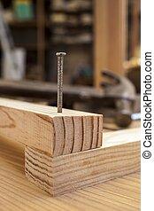 hout, spijker, bouwsector, achtergrond, tafel, hamer