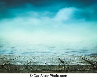 hout, tafel, met, zee