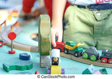 hout, trein, speelbal, set