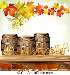 hout, vat, voor, wijntje