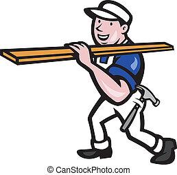 hout, verdragend, arbeider, spotprent, timmerman