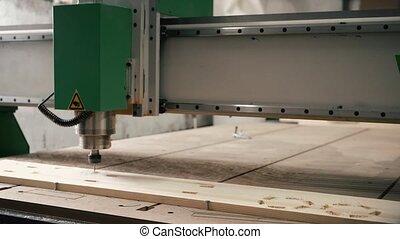 hout, video, frezen, werkende , mechanisme