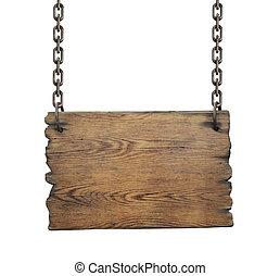hout, wegaanduiding, vrijstaand, op wit, achtergrond