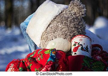 hout, ziek, beer, teddy