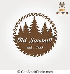 houtbewerkers, etiket, houtzagerij, badge, logo, ...